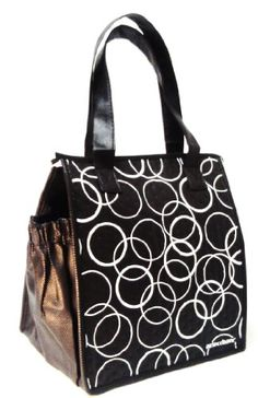 Fashion Lunch Tote Insulated Bag With Zipper Black White Circles Read