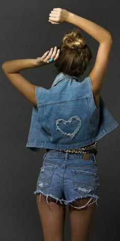 Back Heart Print Denim Vest by Fashion Crack