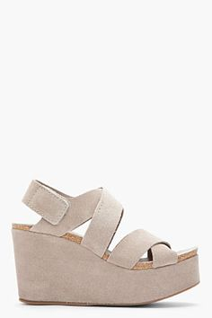 Expensive but super comfy and pretty: PEDRO GARCIA Grey Suede Delsie Wedge Sandals