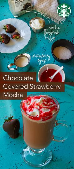 Brew 6 fl oz of StarbucksMocha flavored ground coffee (or KCuppods). Drizzle 1 Tbsp of strawberry syrup inside a coffee cup. Add the hot coffee to cup. Add 3Tbsp half-and-half and 2 tsp sugar. Stirwell. Top with whipped cream anddrizzle with extra strawberry syrup.