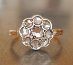Antique Rose Cut Diamond Cluster Engagement Ring 18k, $985.00