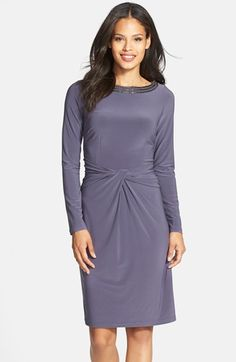 Adrianna Papell Beaded Neck Knot Detail Jersey Dress available at #Nordstrom- mom? or bridesmaid