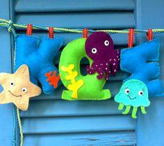 Check the handmade details of the felted creatures! Felt Name, Under The Sea, Nursery Decor, Kids Room, Dinosaur Stuffed Animal, Creatures, Christmas Ornaments, Garlands, Toys