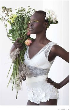 Alek Wek is Romantic in Flora for As If Magazine