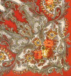 Russian Shawls: Сон Бабочки-3 (1463-3 orange version)
