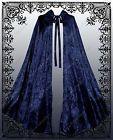Gothic Steampunk Navy Blue Velvet Cloak Men Women Historical Pirate Cape
