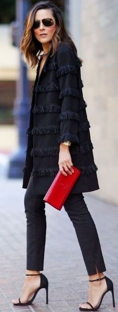Lucy's Whims Black Fringed Coat Fall Streetstyle Inspo