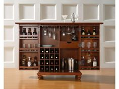 Crosley Cambridge Expandable Bar Cabinet Is Constructed Of Solid Hardwood And Wood Veneers This Designed For Longevity