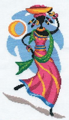 4 Embroidery Art, Cross Stitch Embroidery, Cross Stitch Designs, Cross Stitch Patterns, Saree Painting Designs, Art Africain, Peyote Patterns, Counted Cross Stitch Kits, Cross Stitch Flowers