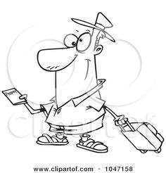 Royalty-Free (RF) Clip Art Illustration of a Cartoon Black And White Outline Design Of A Traveler Holding A Passport by Ron Leishman