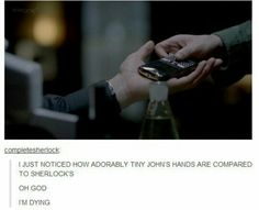 maybe it is the angle of the camera or just that John has really tiny hands