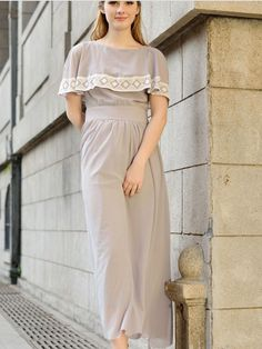 Gray Chiffon Round Neck Short Sleeve Empire Vintage Maxi Dress : KissChic.com