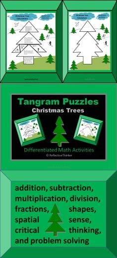 Fun and engaging Christmas Tree Tangram Puzzles that provide practice for the following math skills:  geometry (shapes), spatial sense, word problems, critical thinking, addition, subtraction, multiplication, division, and basic fractions.This is a 15-page resource containing differentiated math activities for Grades 3-7 that align with several Common Core Math Standards. Meets varied learning styles.