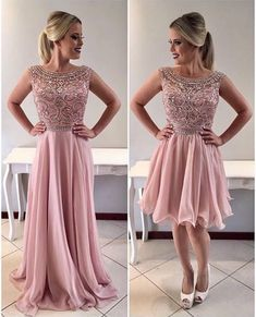 Pink Scoop Neck Crystals Beaded Prom Dress,A-Line Chiffon Homecoming Dresses on Luulla Short Beach Dresses, Formal Dresses For Women, White Maxi Dresses, Cute Dresses, Beautiful Dresses, Dresses Dresses, Casual Dresses, Woman Dresses, Dresses Online