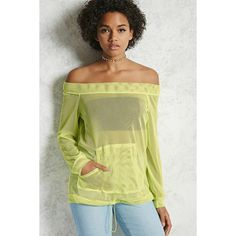 Forever21 Off-the-Shoulder Mesh Top ($15) ❤ liked on Polyvore featuring tops, neon yellow, off the shoulder long sleeve top, off shoulder long sleeve top, beige top, neon yellow top and off the shoulder tops