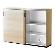 Tech storage w lock GALANT Cabinet with sliding doors - birch veneer - IKEA