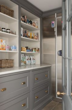 A walk in pantry and cold room for storing masses of non-perishable and perishable items for when the house is hosting large shooting parties or entertaining on a big scale. Tidy Kitchen, Kitchen Pantry Cabinets, Prep Kitchen, Kitchen Ideas, Kitchen Inspiration, Larder Cupboard, Kitchen Things, Kitchen Designs, Kitchen Countertops
