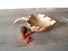 Vintage Carved Wood Bowl  Footed Leaf Candy by MomsantiquesNthings, $18.00