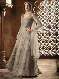 12b5a21a16 Gray Net Embroidered Designer Suit (Unstitched)