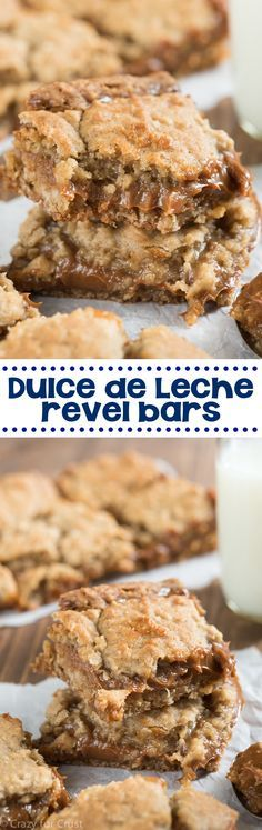 These Dulce de Leche Revel Bars are a fast and easy recipe! The are full of caramel and oatmeal cookie flavor!