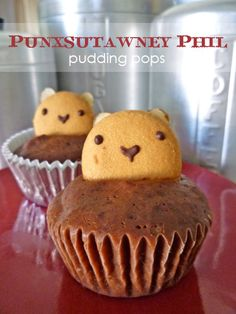 groundhog day pudding cupcake