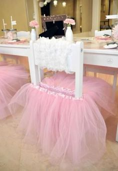 White chairs with TUTUs perfect for a ballerina themed birthday party little girls -- oh my goodness -- I would have so done this for my girls when they were little! by luz