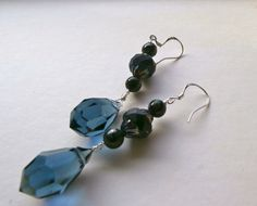 Black and blue earrings danglers 925 silver ear wires. £9.00