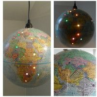 Vintage World Globe Lamp. punch a hole for every country and city you've visited. World Globe Lamp, Globe Lamps, World Globes, Globe Lights, Globe Projects, Globe Crafts, Globe Light Fixture, Globe Pendant Light, Craft Night