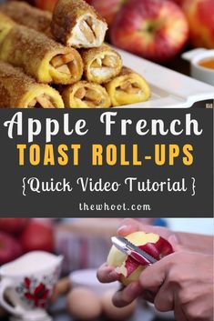 Apple French Toast Roll-Ups With Cream Cheese Filling These delicious Apple French Toast Roll Ups are the perfect sweet treat for brunch or a dessert and they are a real crowd-pleaser. Get the recipe now. Savoury French Toast, Homemade French Toast, Apple French Toast, French Toast Roll Ups, Nutella French Toast, French Toast Bake, French Toast Casserole, Breakfast Casserole, Cream Cheese Roll Up