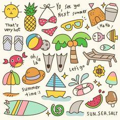 Set of Cute Summer Time Doodle — Stock Illustration Summer Drawings, Bff Drawings, Mini Drawings, Doodle Drawings, Doodle Art, Kawaii Doodles, Cute Doodles, Banner Doodle, Cartoon Fish
