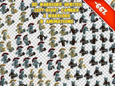 Fantasy Heroes 2D Sprites is a collection of png files with 8 animations PNG files can be used regardless of the version of Unity.  Works in UNITY5 ! Web Demo Support: dominik@honeti.com   Characters:  • Three Warriors • 123 png files x 3 • 512x512px - easy to rescale and compress  Eight Animations: • Run • Idle • Idle2 • Attack1 • Attack2 • Hit • Death • Jump • Animations clips and controllers (not necessary, Unity 4.3 and above)  Same package but 3D models with customizations: 11k…