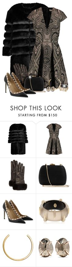"""Faux Fur Coat & Metallic Dress Outfit"" by helenehrenhofer ❤ liked on Polyvore featuring AINEA, Temperley London, Loro Piana, Serpui, Valentino, Alexis Bittar, Jennifer Fisher, Melissa Joy Manning, valentino and metallic"