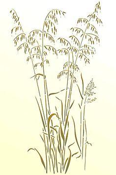 Grass Stencils Wild Slender Oats Stencil Wild Grasses Wild Oats