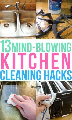 clean kitchen 13 Awesome And Cheap Kitchen Cleaning Hacks. Life changing and genius kitchen cleaning hacks and ideas that will make your life soooo much easier. These hacks and tips are perfect for crazy houses and lazy girls. Household Cleaning Tips, House Cleaning Tips, Diy Cleaning Products, Deep Cleaning, Green Cleaning Recipes, Life Hacks Iphone, Life Hacks Diy, House Hacks, House Hold Hacks