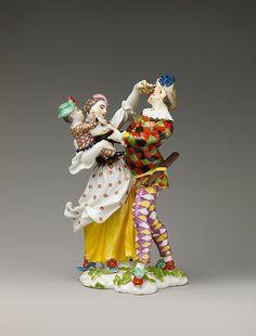 Harlequin Family  Factory:Meissen Manufactory (German, 1710–present) Date:model ca. 1740 Culture:German, Meissen Medium:Hard-paste porcelain Dimensions:Height: 7 1/8 in. (18.1 cm)