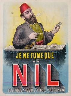 Le Nil Papier à cigarettes Vintage Advertising Posters, Vintage Advertisements, Vintage Ads, Vintage Posters, Vintage Pictures, Vintage Images, Joseph, Vintage Cigarette Ads, Le Nil