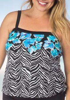 Maxine Of Hollywood Women's Plus Size Zebra Garden Bandeau Fauxkini Swim Top - Blue Hawaii - 18W