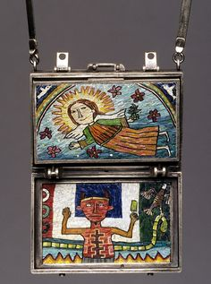 Trip - Mexico (third and fourth panels) by Cynthia Toops. The pendant's polymer clay panels are reminiscent of postcards and are secured in a sterling silver suitcase. Metalwork by Chuck Domitrovich.