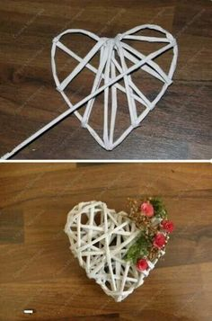 Straw Weaving, Weaving Art, Acorn Crafts, Tree Crafts, Heart Decorations, Valentine Decorations, Diy Crafts For Gifts, Crafts For Kids, Recycled Paper Crafts