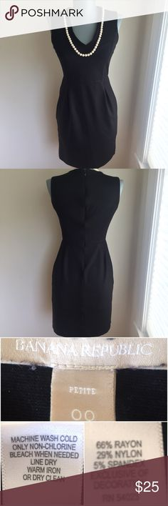 "Banana Republic Black Size 00P. Sheath Dress. Banana Republic Black Size 00P. Sheath Dress. Flat lay measurements. Between underarms 14 1/2"". Waist 12 1/2"". Hips 16"".  Length 33"".  Very good condition.  Chic. FIRM PRICE. Banana Republic Dresses Mini"