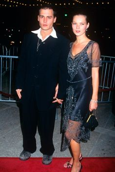 KATE MOSS  At the height of their super-couple powers, Johnny Depp and Kate Moss walked hand-in-hand at the LA premiere of Donnie Brasco in 1997 with Kate channelling the flapper girl look in a '20s-inspired cocktail dress and strappy heels. (1997)