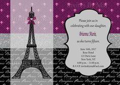 sweet 16 paris theme   Paris Themed MultiPurpose Invitation Sweet 15/16 by ...   InvitesByMaL