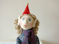 Cloth Art Doll Lottie the Festive Pixie Ooak by TabbyCatCraftsShop