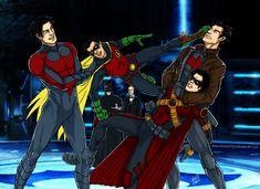 Get the tranq gun, Alfred by snowzapped.deviantart.com on @DeviantArt ~ Alfred: Aspirin, Sir? / Batman: Get the tranq gun, Alfred. -___- / Dick: That's enough, Little D… XD / Damian: Unhand me, Grayson! >__< / Tim: Lemme go, Jay! >__< / Jason: Oh Shiiiit! O_O