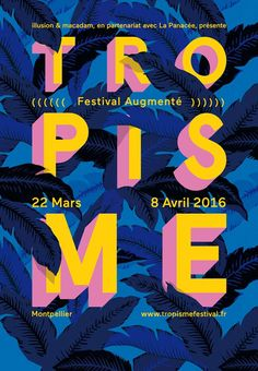 Gorgeously realized poster for a festival in Montpellier last spring. Wish it was credited. Those giant banana leaves are brilliant - this could be a straight translation to excellent wallpaper. Web Design, Design Art, Print Design, Graphic Design Posters, Graphic Design Typography, Typo 2, Cover Design, Poster Festival, Festival Flyer