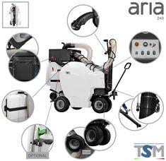 TSM Aria 240 városi por-és szennyeződés szívó takarítógép. Megoldás a kültéri problémákra. Az Aria 240 az első és egyedülálló, 100%-ig elektromos utcai szívó takarítógép a piacon az automatikus szűrőtisztító rendszerrel a fedélzetén. Nagyon csendes és zéró füst kibocsátású, a magán- és a nyilvános helyiségek tisztítására. Egy száraz, elektromos takarítógép, 1500W-os teljesítményével egyedülálló és hatékony tisztítást végezhetünk vele több, mint 10 órás folyamatos munkavégzéssel.