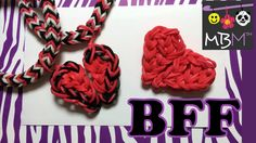Rainbow Loom Charms: Best Friend Half Hearts BFF -- Use any loom in the staggered layout to make this heart that splits in half, so you keep one half and give the other to someone you care about!
