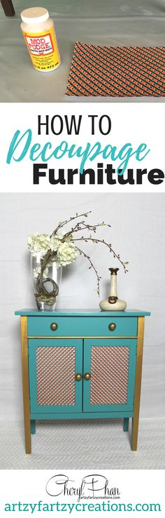 How to decoupage furniture. This easy tutorial shows each step to use mod podge and add scrapbook paper to the front drawers and doors of any piece of furniture. By Cheryl Phan of ArtzyFartzyCreations.com