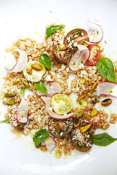 Farro Salad with Mint, Pistachio, and Cherry Tomatoes
