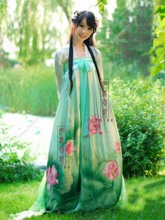 Women's Mulberry silk Green Skirt Ruqun Chest dress Tang Dynasty Hanfu Clothing - USD $ 456.00